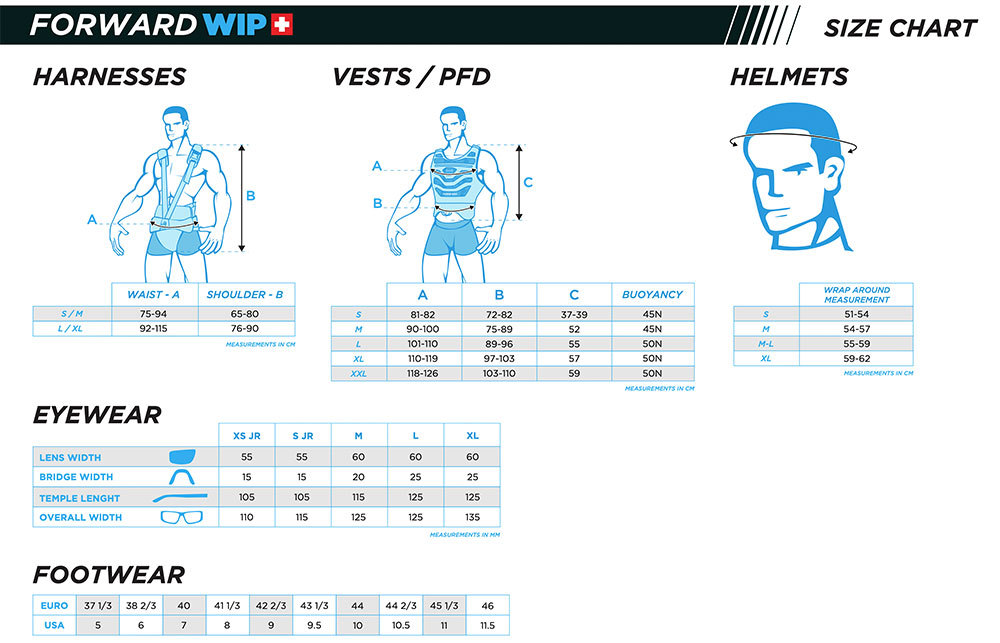 Forward-WIP-Sailing-Size-Chart-Harness-PFD-Etc